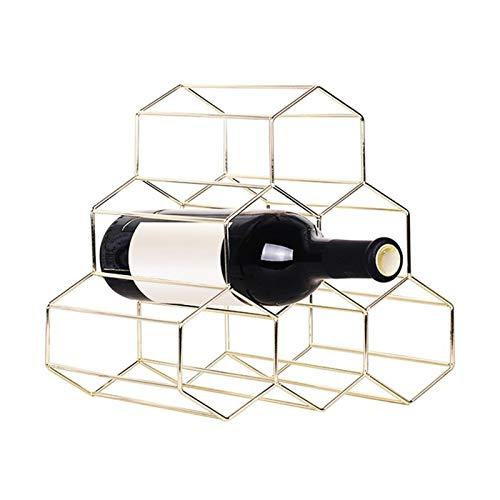 Botellero de Vino Estante de Vino, Metal Rojo 6 Botella Soporte de Monte Barra de Monte Estante Creativo Geométrico Vino Rack Alcohol Neer Cuidado Beber Botella Titulares de Botellas para Organizar y