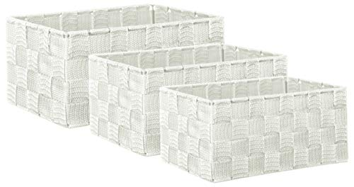 Brandsseller - Caja decorativa (3 unidades), diseño de ratán, color blanco