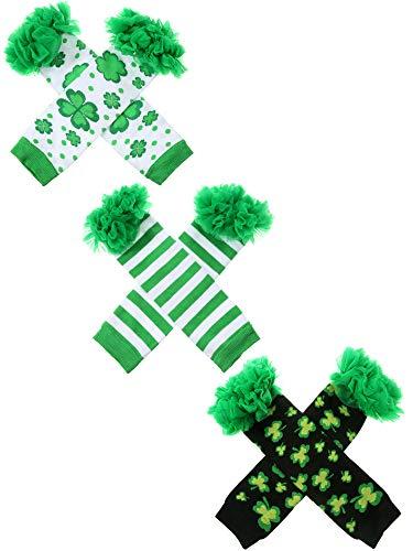 Zhanmai 3 Pares de Calentadores de Pierna de Día de San Patricio Calcetines sin Pies Accesorios de Disfraz de Fiesta para Niñas (Conjunto de Estilo 2)