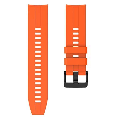 ZAALFC Correa de silicona deportiva de 22 mm para Huawei para Honor Magic Watch GT Active Strap para Samsung Galaxy Watch 46 mm Gear S3 (color de la correa: naranja, ancho de la correa: 22 mm)