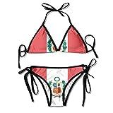 Bikini Triangular con Cordones Conjuntos de Bikini Trajes de baño con Bandera de Perú Bikinis Tanga Traje de baño para Playa Natación en la Playa