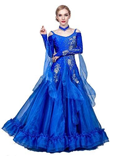 Fhxr Vestido de baile de saln estndar nacional para mujer, traje de danza moderna, vestido de vals de baile social (color azul oscuro, tamao: XXL)