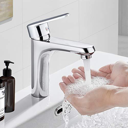BONADE Waschtischarmatur für Bad, Wasserhahn Bad Einhandmischer Einhebel Mischbatterie waschbecken Armatur Einhandhebelmischer aus Messing verchromt fürs Badezimmer