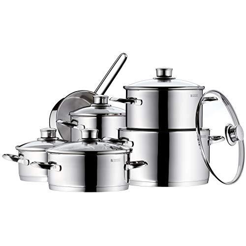 WMF Saphir - Batería de Cocina, Acero Inoxidable Cromargan, Tapas de Cristal, Apta para Todo Tipo de Cocinas, 6 Piezas
