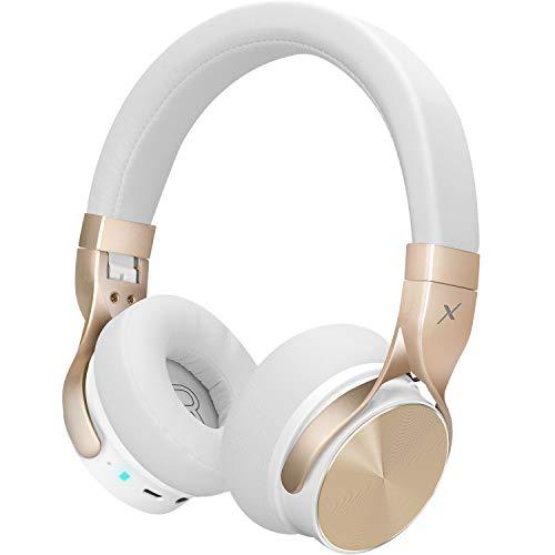 Riwbox BN5 Cuffie Bluetooth sopra l'orecchio, Cuffie stereo pieghevoli Wireless cablate con microfono Compatibili per iPhone/iPad/TV/PC/Corsi online/Ufficio domestico (Oro bianco)