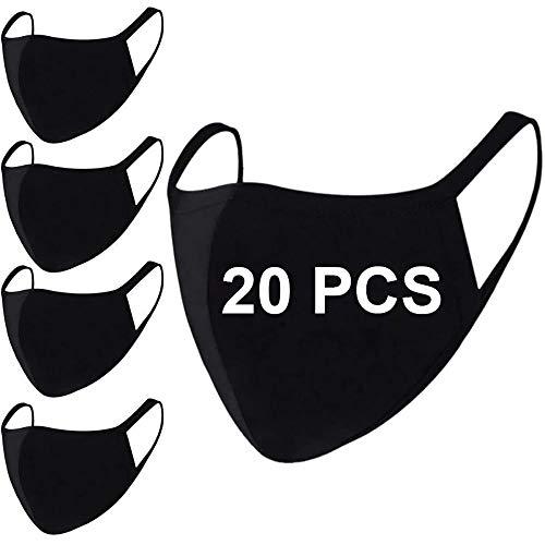 20 Pack Fashion Black Cloth Breathable Cotton Fabric Face Mask Reusable Washable for Unisex Women Men