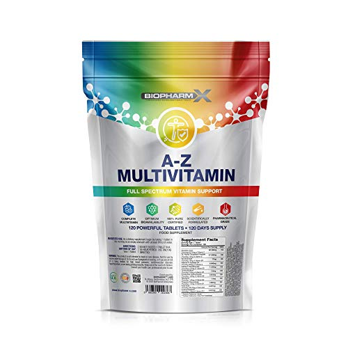 Multivitamin Tablets (120 Tablets - 1 Per Day) 100% Daily NRV All Essential Vitamins - Manufactured in The UK by BioPharmX