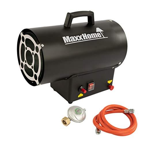 MaxxHome Heißluftgenerator - Heizkanone Gasheizer - thermostatische Schutzvorrichtung Heizlüfter - 45 x 35 x 35 cm - 30Kw