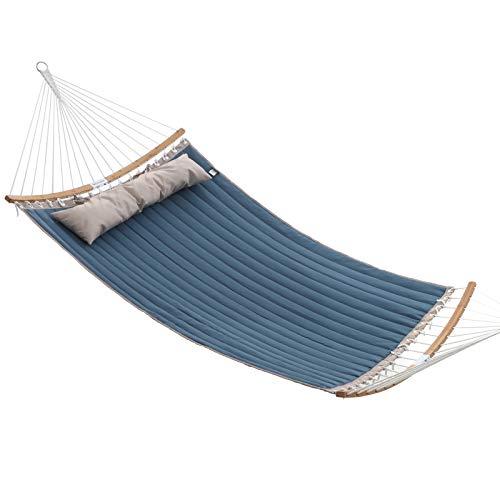 SONGMICS hangmat voor 2 personen, gewatteerd, gewatteerd, met deelbare gebogen spreidstangen van bamboe, met kussen, Oxford stof, 200 x 140 cm, tot 225 kg draagvermogen, blauw en beige GDC34QW
