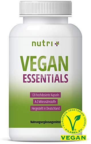 VEGAN ESSENTIALS 120 Kapseln - Complete Präparat für Veganer - Nutri-Plus Daily mit Vitamin B12,...