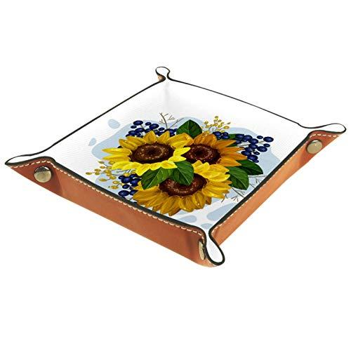 KAMEARI Bandeja de cuero vintage con diseño de girasoles florales para llaves, monedas, de piel de vacuno, práctica caja de almacenamiento para carteras, relojes, llaves, monedas