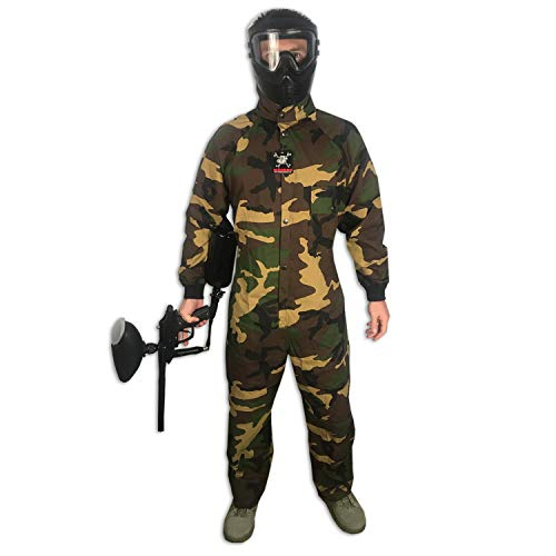 Maddog Tactical Paintball Rip Stop Coverall Jumpsuit - Woodland Camo - Large