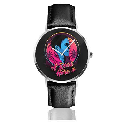 Unisex Business Casual A Real Hero Drive Uhren Quarzuhr Leder schwarz Armband für Männer Frauen Young Collection Geschenk