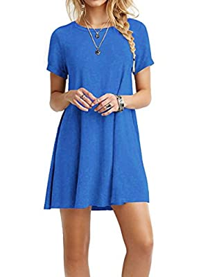 TINYHI Women's Swing Loose T-Shirt Fit Comfy Casual Flowy Cute Swing Tunic Dress