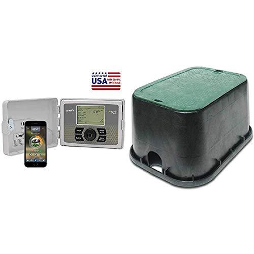 "Orbit 57946 B-hyve Smart Indoor/Outdoor 6-Station WiFi Sprinkler System Controller & NDC 14"" x 19"" Standard Series - Black Box/Green Cover, ICV"
