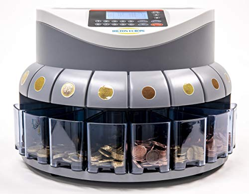HILTON EUROPE G550 - Contador/Clasificador monedas euro - Capacidad de 500 a 800 monedas - 250 MONEDAS por MINUTO - Visualización de conteo - Cajetines Clasificadores