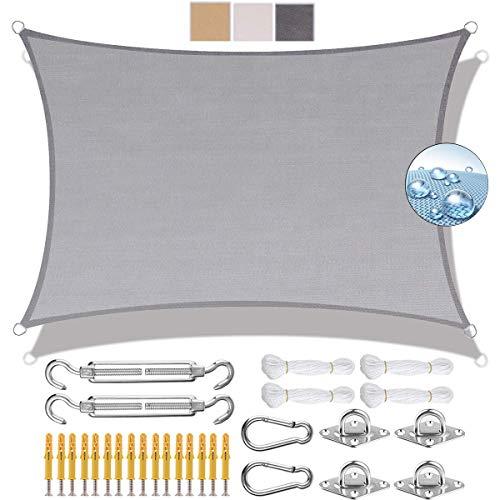 Rectangular Vela de Sombra 2x2.5m Toldo Vela IKEA Protección UV 95% 304 Acero Inoxidable Kit de Montaje para Jardín Patio Terraza Balcón, Gris