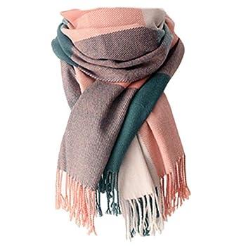 Women s Long Plaid Blanket Chunky Oversized Winter/Fall Warm Scarf Big Tartan Scarves Wrap Shawl A-Pink
