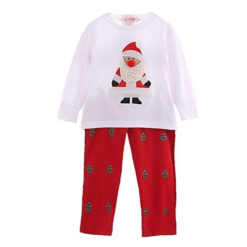 Toddler bambini Babbo Natale stampa top pantaloni vestiti set