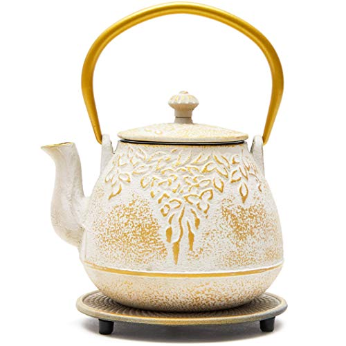 White and Gold Cast Iron Teapot with Trivet in a Leaf Design (32 Ounces)