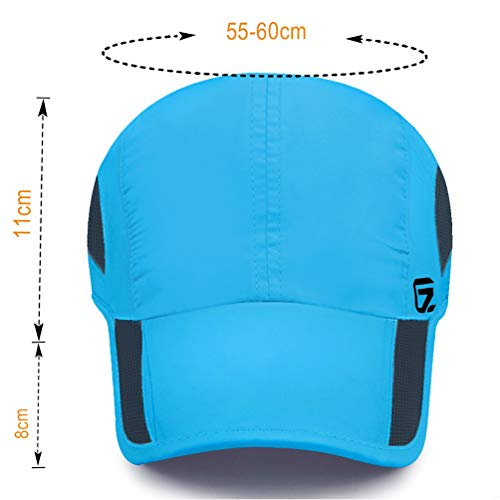 GADIEMKENSD Quick Dry Sports Hat Lightweight Breathable Soft Outdoor Running Cap Baseball Caps for Men (Sky Blue) - 2