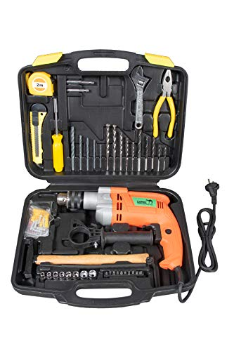 CAMEL BRAND 13 mm 850W Impact Drill Machine with Reversible Function 100 Accessories (Blue)