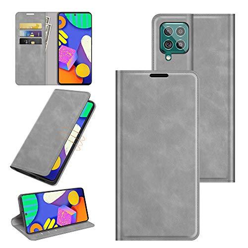 Fertuo Funda para Samsung Galaxy M62 / F62, Carcasa Libro con Tapa de Cuero Piel Flip Case Cover con Cierre Magnetica, Ranuras para Tarjetas [Interna de Silicona] para Galaxy M62 / F62, Gris