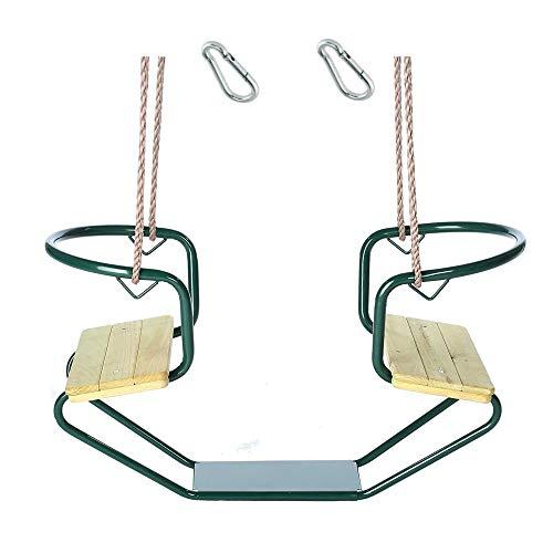 h2i Doppelschaukel Schiffschaukel Metallrahmen mit zwei Holzsitzen incl. Karabiner zum Einhängen Farbe (Grün)