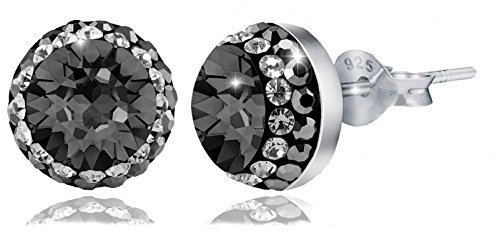 PAPOLY®, Pendientes y collar DOBLE línea de cristal GENUINE CZECH CRYSTAL® 0.33in/8,5mm PLATA DE LEY 925 (BLACK)