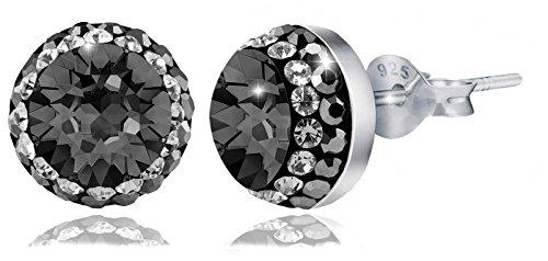 PAPOLY, Pendientes y collar DOBLE línea de cristal GENUINE CZECH CRYSTAL 0.33in/8,5mm PLATA DE LEY 925 (BLACK)