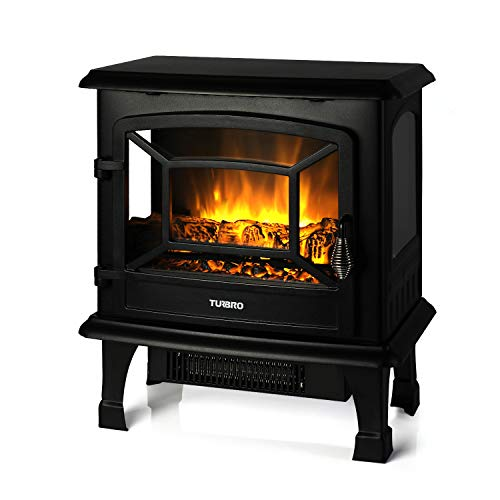 "TURBRO Suburbs 20"" 1400W Electric Fireplace Stove, CSA Certified Freestanding Heater with Realistic Log Flame Effect, Black"