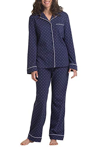 PajamaGram Petite Pajamas for Women - Button Front, Navy Polka Dot, M 8-10