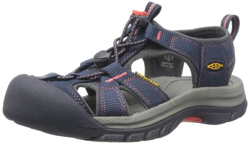 KEEN Women's Venice H2 Sandal,Midnight Navy/Hot Coral,7.5 M US