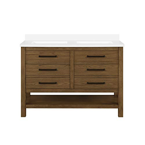 OVE Decors Chase Open Shelf 48 in. Double Sink Bathroom Vanity in Rustic Oak and White Countertop