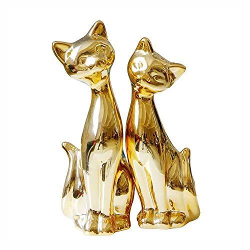 8.3 '' Ceramic Gold Plating Cat Figurines, 2 Stuks/Set Cats Decoratie Van Het Ornament Animal Model Statue For Decor Van Het Huis