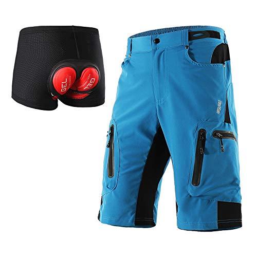 ARSUXEO - Pantaloncini da ciclismo da uomo, vestibilità larga, pantaloncini da mountain bike, impermeabili, pantaloncini per sport outdoor, 1202, Uomo, Azzurro con cuscinetto, M