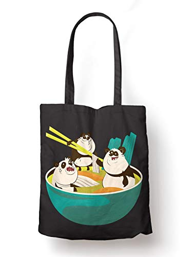 BLAK TEE Funny Ramen Panda Soup Illustration Organic Cotton Reusable Shopping Bag Black