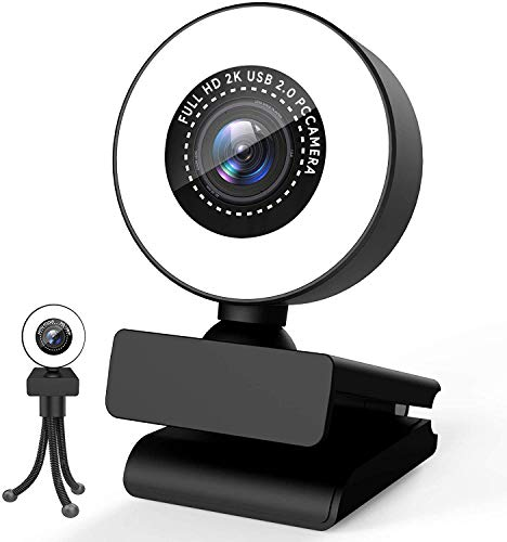 Webcam HD 1080p pour PC, Streaming Webcam PC avec Anneau Lumineux, Grand Angle Web Camera USB2.0 3.0 avec Microphone Stéréo pour Ordinateur Mac PS4 Youtube Xbox