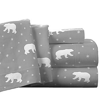 Pointehaven Flannel Deep Pocket Sheet Set with Oversized Flat Sheet, King, Polar Bear