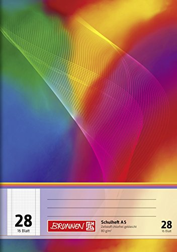 Brunnen 104592802 Schulheft A5 (16 Blatt, 5 mm kariert, mit Rand, Lineatur 28)