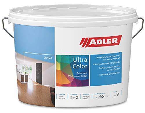 ADLER Ultra-Color Wandfarbe - erstklassige, matte Wand- & Deckenfarbe -Kreide C12 177/7 hohe Deckkraft, Atmungsaktiv, Lösungsmittelfrei - Weiß - 1 l - in 100+ Pastell Farbtönen