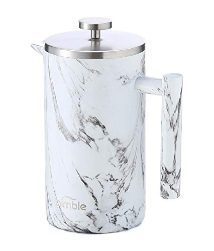Nimble French Press Stainless Steel Insulated Double-walled Coffee Press Marble Finish - 34 fl oz  1000 ml
