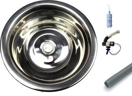 Roestvrijstalen spoelbak met afvoer diameter 25 cm - gootsteen - set