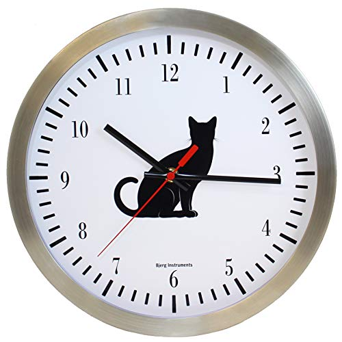 Bjerg Instruments 12 Inch Wall Clock Gift for Cat Lovers