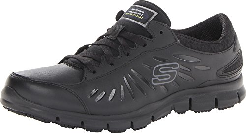 Skechers for Work Women's Eldred Lace Up, Black, 8 XW US