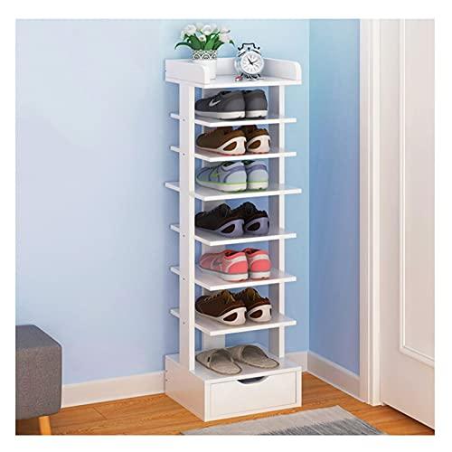 ZJH 8 Niveles de Zapato con cajón Moderno Mueble de Zapatos Home Furniture Hallway Vertical Space Saving Shoe Storage Organizador (Color : White)