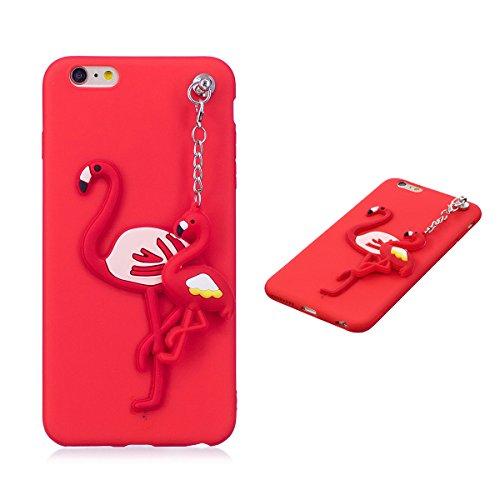 Cover iPhone 6 Plus, Cover iPhone 6S Plus, Cute 3D Cartoon Fenicotteri Morbido TPU Slim anti Scivolo Custodia Protezione Posteriore - Rosso