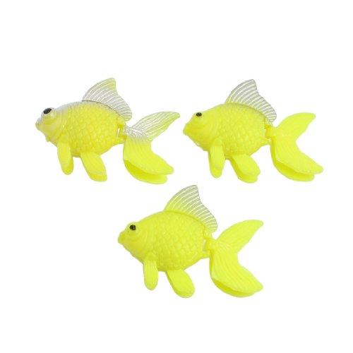 sourcingmap Kunststoff-Aquarium, schwimmender Goldfisch, Gelb, 3 Stück