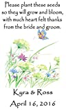 Wedding Wildflower Seed (seeds included) Packet Favors 50 qty. Personalized-Butterfly Flower Design 6 verses to choose