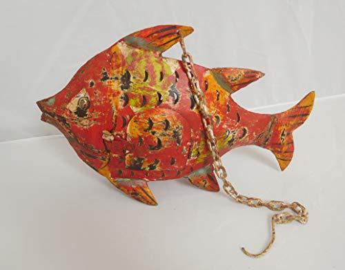 Passion MaDe Fisch Dekofisch Windlicht Laterne Gartendeko Garten Deko Dekoration Figur Dekofigur Metall 32 cm 222157 (rot)
